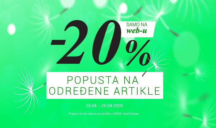 -20% na određene artikle