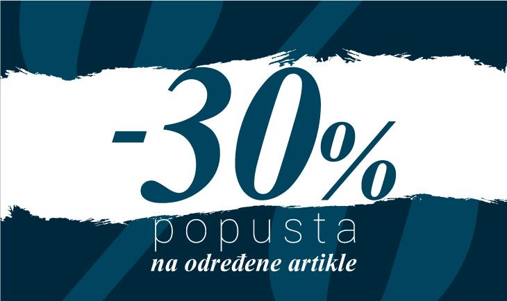 30% na određene artikle iz nove kolekcije