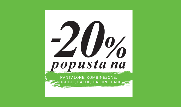 20% popusta na produktne grupe