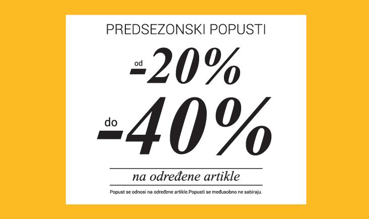 Predsezonski popust od 20% do 40%