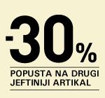 30% na drugi, jeftiniji artikal!