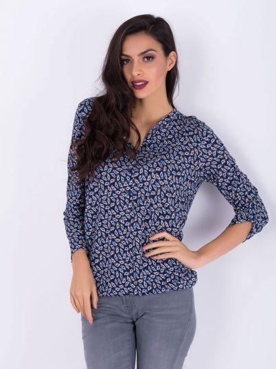 Plava dezenirana bluza