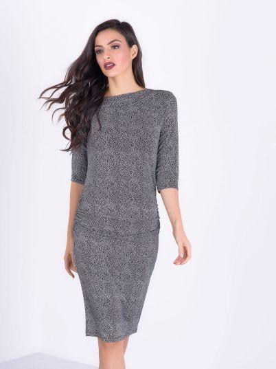 Crno bela dezenirana haljina