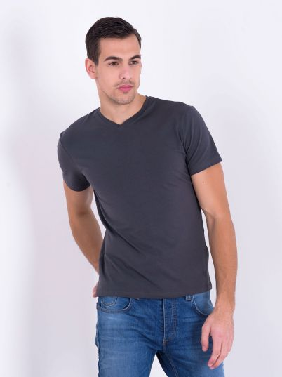 Siva basic majica V izrez