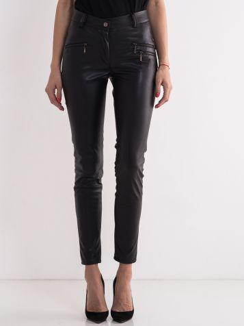 Crne pantalone od veštačke kože