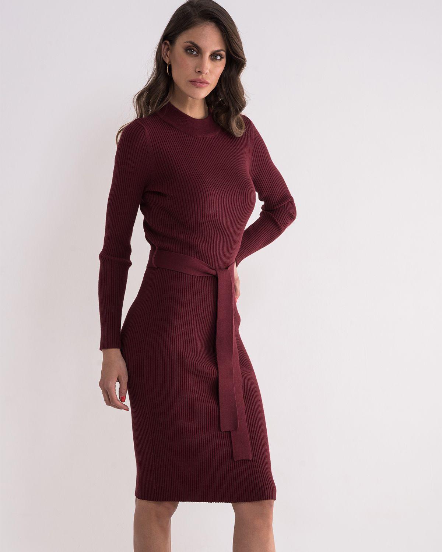 Tamno bordo haljina