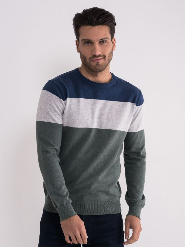 Prugasti pamučni džemper