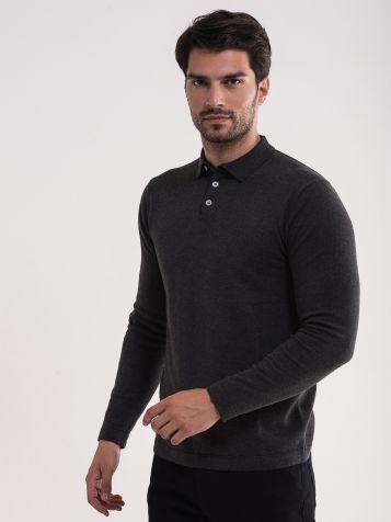 Melirano tamno sivi džemper sa kragnom