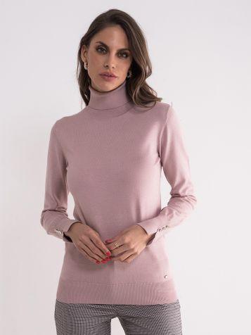Džemper sa rolkom u puder boji