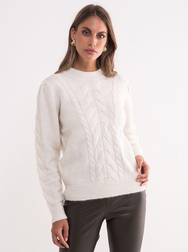 Ženski beli džemper