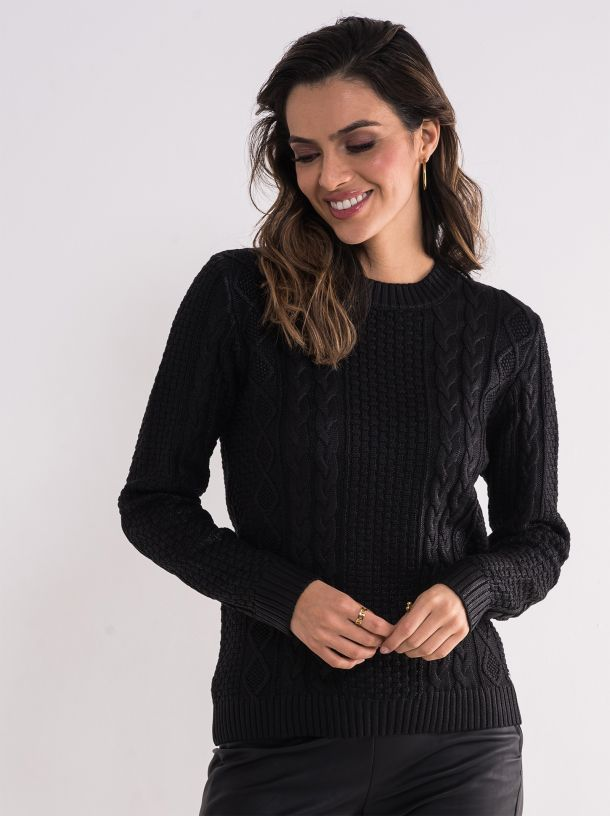 Ženski crni džemper