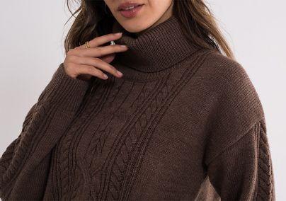 Braon džemper sa rolkom