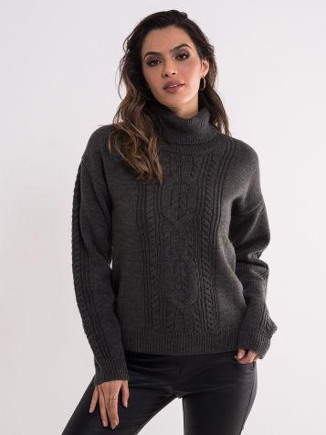 Sivi džemper sa rolkom