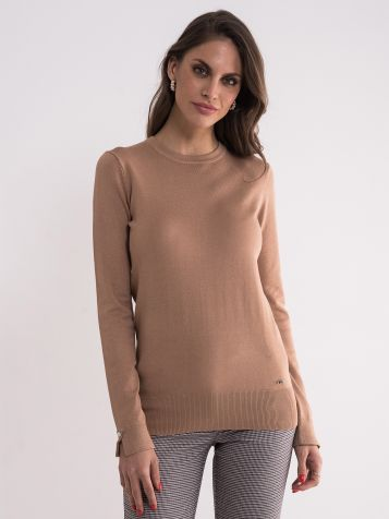 Ženski svetlo braon džemper