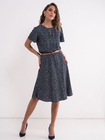 Teget poslovna haljina