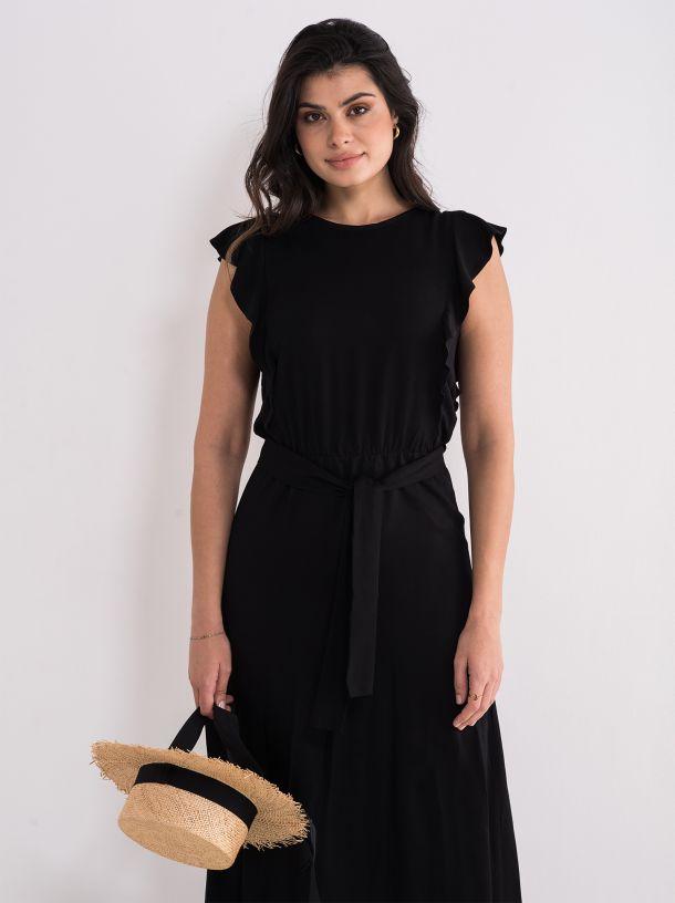 Lepršava crna haljina