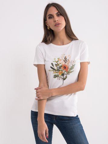 Bela majica sa floralnim uzorkom