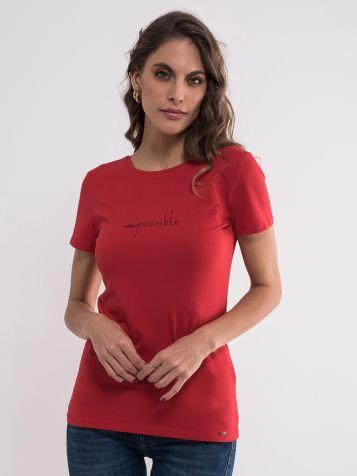 Ženska majica sa kratkim natpisom