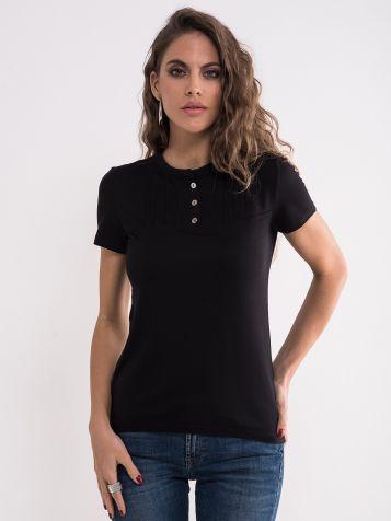 Crna majica sa dugmićima