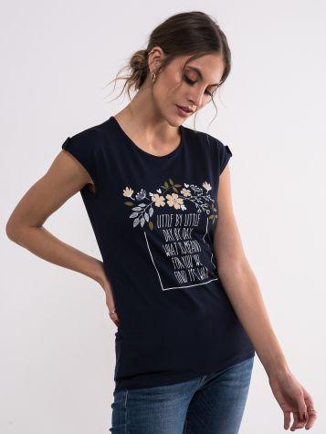 Teget floralna majica
