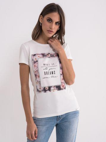 Bela majica sa cvetnim okvirom