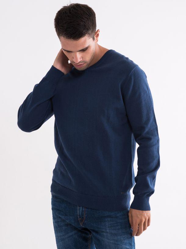 Basic džemper na V izrez plavi