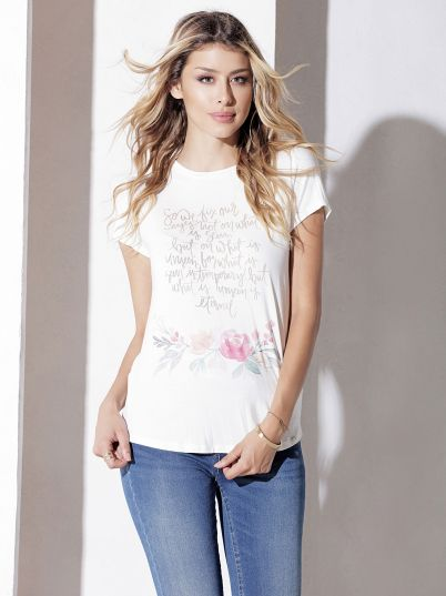 Bela majica sa floralnim printom